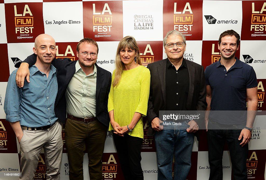 LAFF moderator Paul Cowling, directors Rian Johnson, <a gi-track='captionPersonalityLinkClicked' href=/galleries/search?phrase=Catherine+Hardwicke&family=editorial&specificpeople=208862 ng-click='$event.stopPropagation()'>Catherine Hardwicke</a>, and <a gi-track='captionPersonalityLinkClicked' href=/galleries/search?phrase=Lawrence+Kasdan&family=editorial&specificpeople=625374 ng-click='$event.stopPropagation()'>Lawrence Kasdan</a>, and Directors Guild member Daniel Tenkman attend the Director's coffee talks during the 2012 Los Angeles Film Festival at Regal Cinemas L.A. Live on June 17, 2012 in Los Angeles, California.