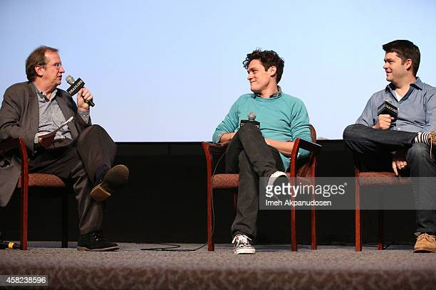 Moderator Pete Hammond and Directors Phil Lord and Christopher Miller speak onstage during Deadline's The Contenders at DGA Theater on November 1...