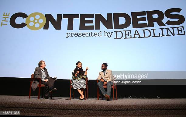 Moderator Pete Hammond director Ava DuVernay and actor David Oyelowo speak onstage during Deadline's The Contenders at DGA Theater on November 1 2014...