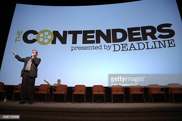 Moderator Pete Hammond speaks onstage during Deadline's The Contenders at DGA Theater on November 1 2014 in Los Angeles California