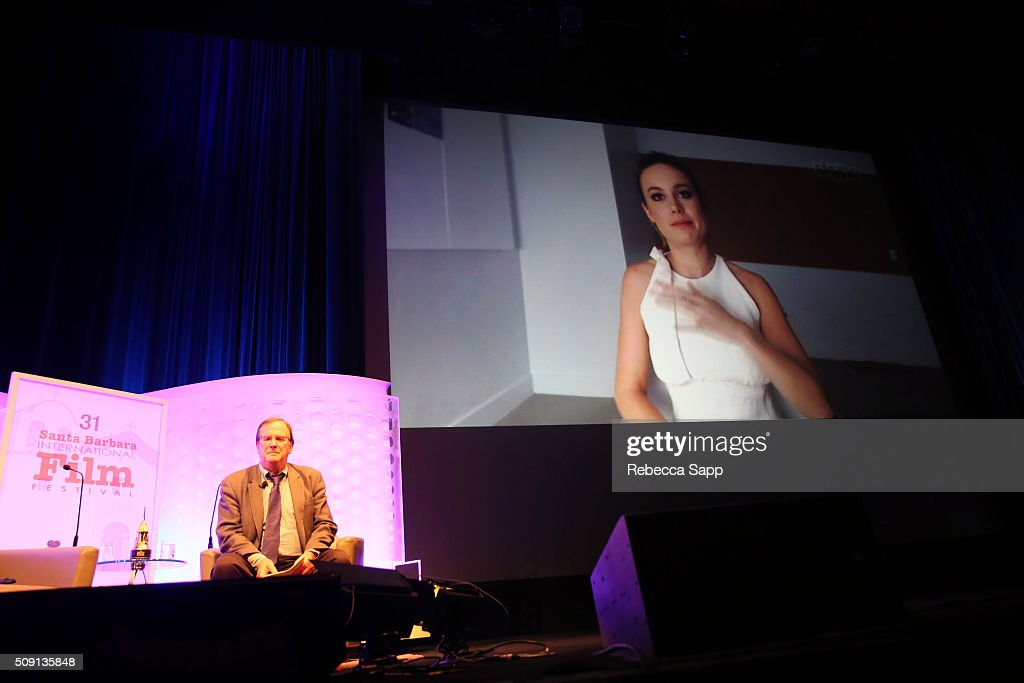 Moderator Pete Hammond speaks with Actor Brie Larson at the Outstanding Performer of the Year ceremony at the Arlington Theater during the 31st Santa...