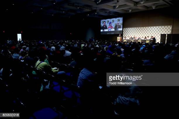 Moderator Ralph Garman executive producers Ben Edlund Barry Josephson and David Fury actors Peter Serafinowicz Griffin Newman Jackie Earle Haley...