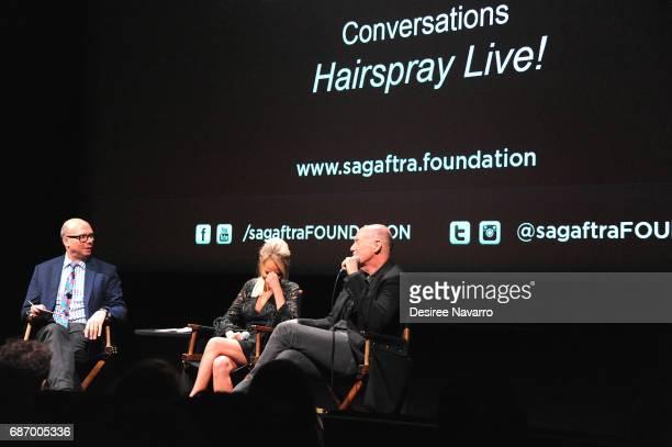 Moderator Richard Ridge actress Kristin Chenoweth and film producer Neil Meron attend SAGAFTRA Foundation Conversations 'Hairspray Live' at SAGAFTRA...