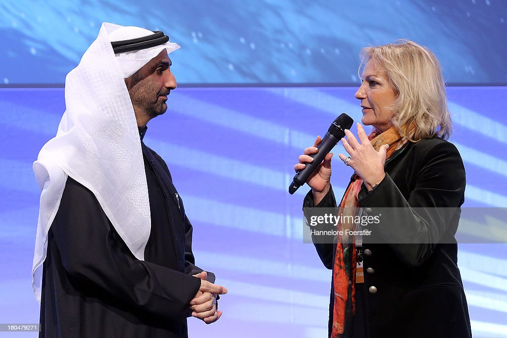 Moderator <a gi-track='captionPersonalityLinkClicked' href=/galleries/search?phrase=Sabine+Christiansen&family=editorial&specificpeople=745234 ng-click='$event.stopPropagation()'>Sabine Christiansen</a> speaks to Sheikh Abdul Aziz bin Ali Al Nuaimi of Ajman at the Thomas Lloyd Cleantech Congress, on February 1, 2013 in Frankfurt am Main, Germany. Technology and trends in renewable energies are up for discussion during the congress.