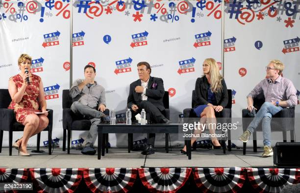 Moderator Sally Kohn Anthony Atamanuik Robert Davi Scottie Nell Hughes and Clay Aiken at the 'Trump Genius or Lunatic' panel during Politicon at...