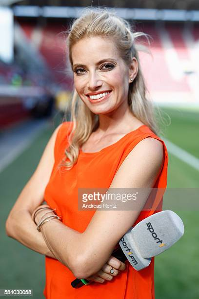 Moderator Sarah Winkhaus poses for a portrait during the 'Champions for charity' football match between Nowitzki All Stars and Nazionale Piloti in...