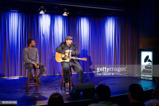Moderator Schyler O'Neal and Singer/Songwriter Chris Pierce talk onstage at The Grammy Museum's Educational Initiative Backstage Pass Acoustic...