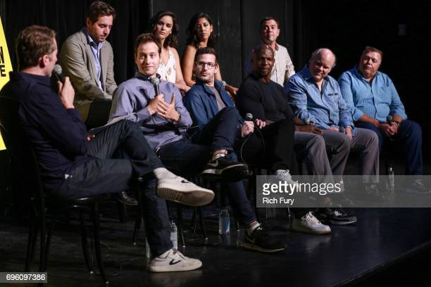 Moderator Scott Aukerman Executive Producer Dan Goor Executive Producer Luke Del Tredeci actors Andy Samberg Melissa Fumero Terry Crews Stephanie...