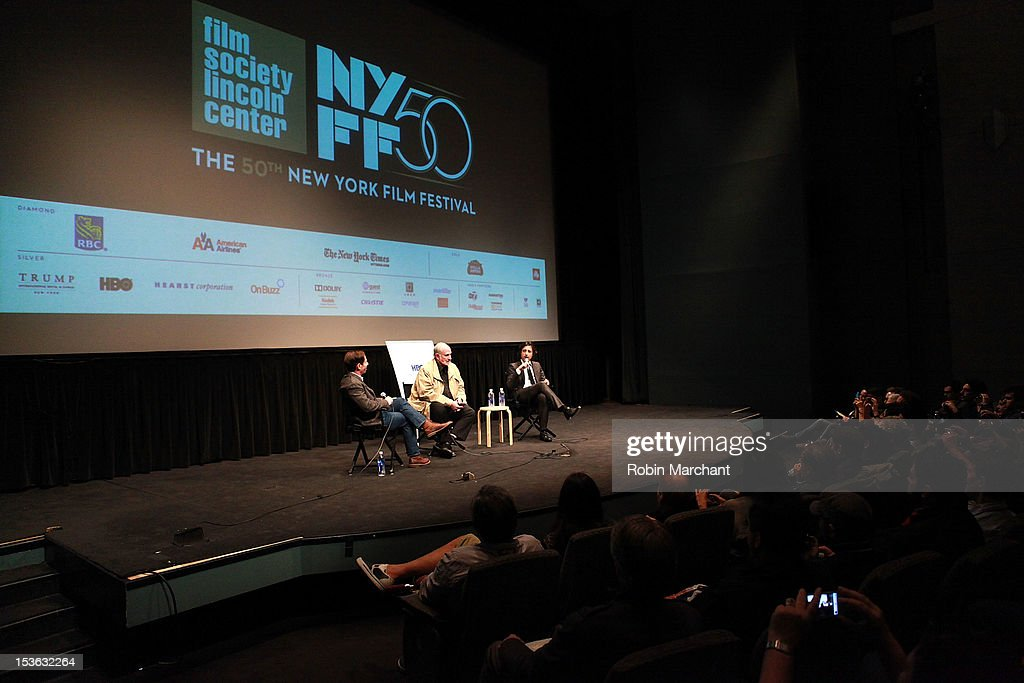 Moderator Scott Foundas with directors Brian De Palma and <a gi-track='captionPersonalityLinkClicked' href=/galleries/search?phrase=Noah+Baumbach&family=editorial&specificpeople=841432 ng-click='$event.stopPropagation()'>Noah Baumbach</a> at On Cinema during the 50th New York Film Festival at Lincoln Center on October 7, 2012 in New York City.