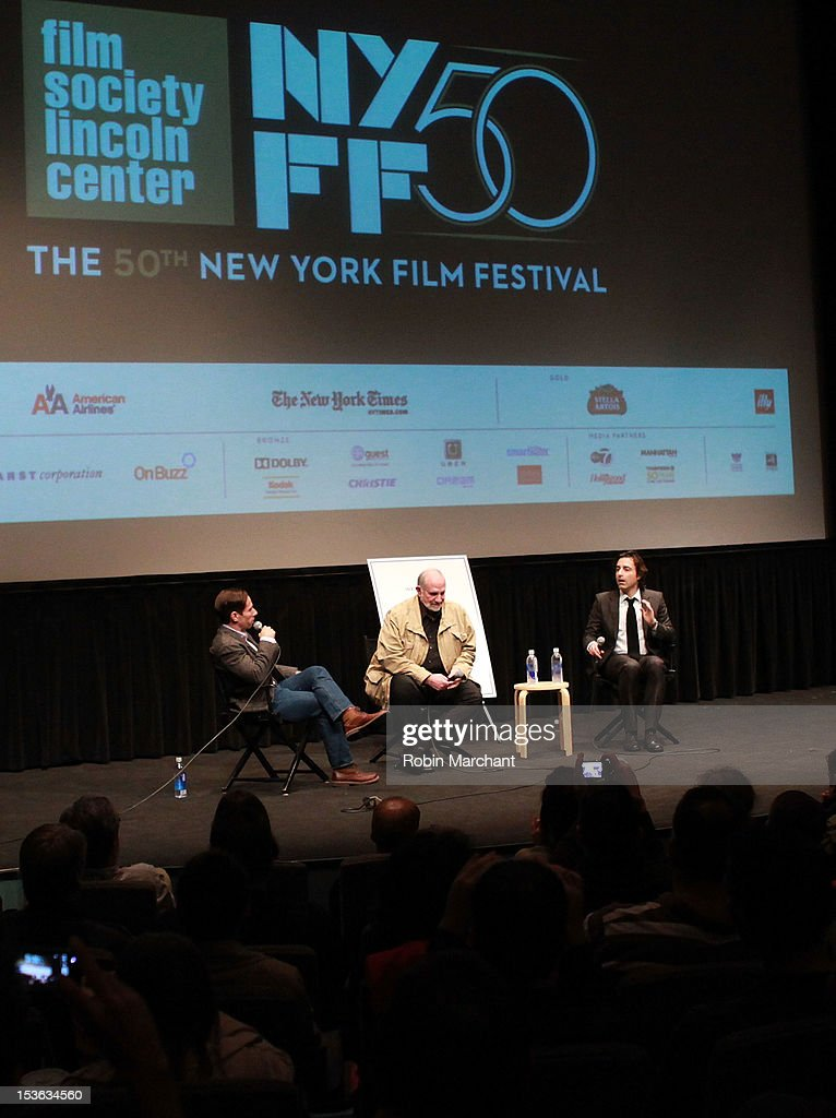 Moderator Scott Foundas with directors Brian De Palma and Noah Baumbach at On Cinema during the 50th New York Film Festival at Lincoln Center on October 7, 2012 in New York City.