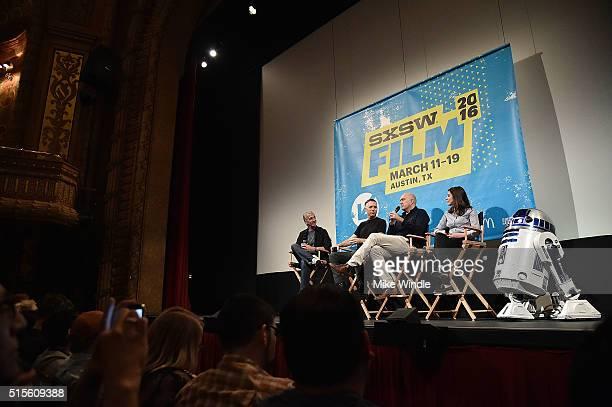 Moderator Scott Mantz sound editor Matthew Wood VFX supervisor Roger Guyett coproducer Michelle Rejwan and R2D2 attend the screening of 'Secrets of...