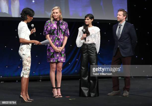 Moderator Shaun Robinson actors Charlize Theron Sofia Boutella and director David Leitch speak onstage at CinemaCon 2017 Focus Features Celebrating...