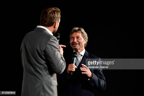 Moderator Steven Gaetjen and Patrick Wachsberger talk on stage of the 'La La Land' Premiere during the 12th Zurich Film Festival on September 25 2016...