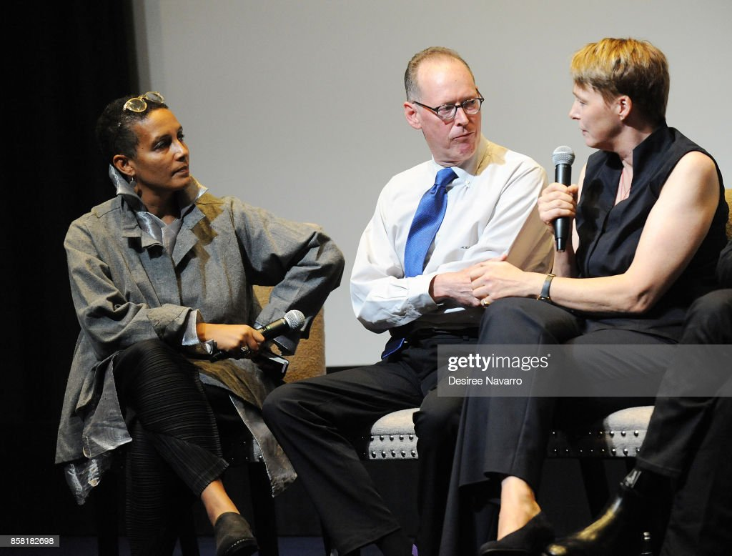 Moderator Tabitha Jackson, Dr. Paul Farmer and Ophelia Dahl attend 'Bending The Arc' New York Screening at the Whitby Hotel on October 5, 2017 in New York City.