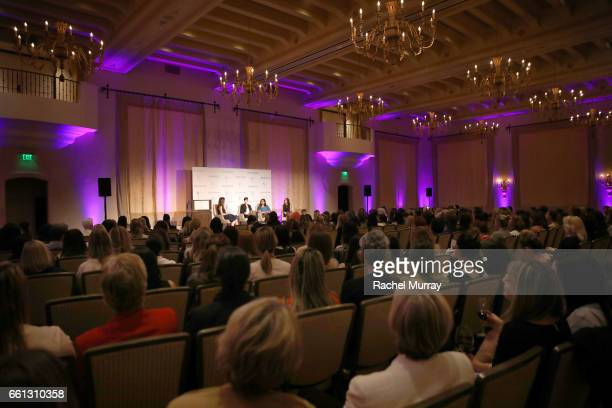 Moderator Thea Andrews Panelist Samantha Paige Mallika Chopra and Kimberly Snyder speak onstage during the Visionary Women's Salon Mind Body and Soul...