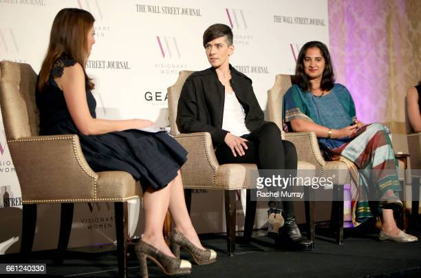Moderator Thea Andrews Speakers Samantha Paige and Mallika Chopra speak onstage during the Visionary Women's Salon Mind Body and Soul at Montage...