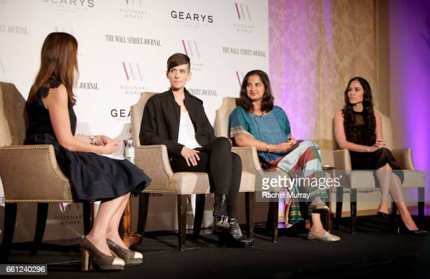 Moderator Thea Andrews Speakers Samantha Paige Mallika Chopra and Kimberly Snyder speak onstage during the Visionary Women's Salon Mind Body and Soul...