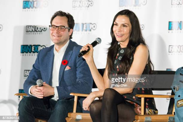 Moderator Thor DIakow and actress Famke Janssen attend 'The XMen' QA for Fan Expo Vancouver in the Vancouver Convention Centre on November 11 2017 in...