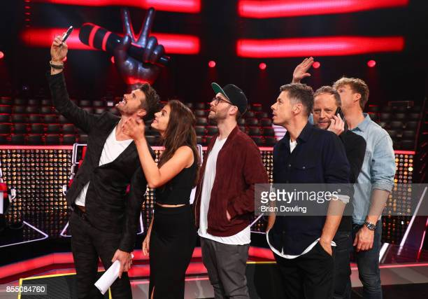 Moderator Thore Schoelermann takes a selfie with judges Yvonne Catterfeld Mark Forster Michi Beck Smudo and Samu Haber as they attend the 'The Voice...