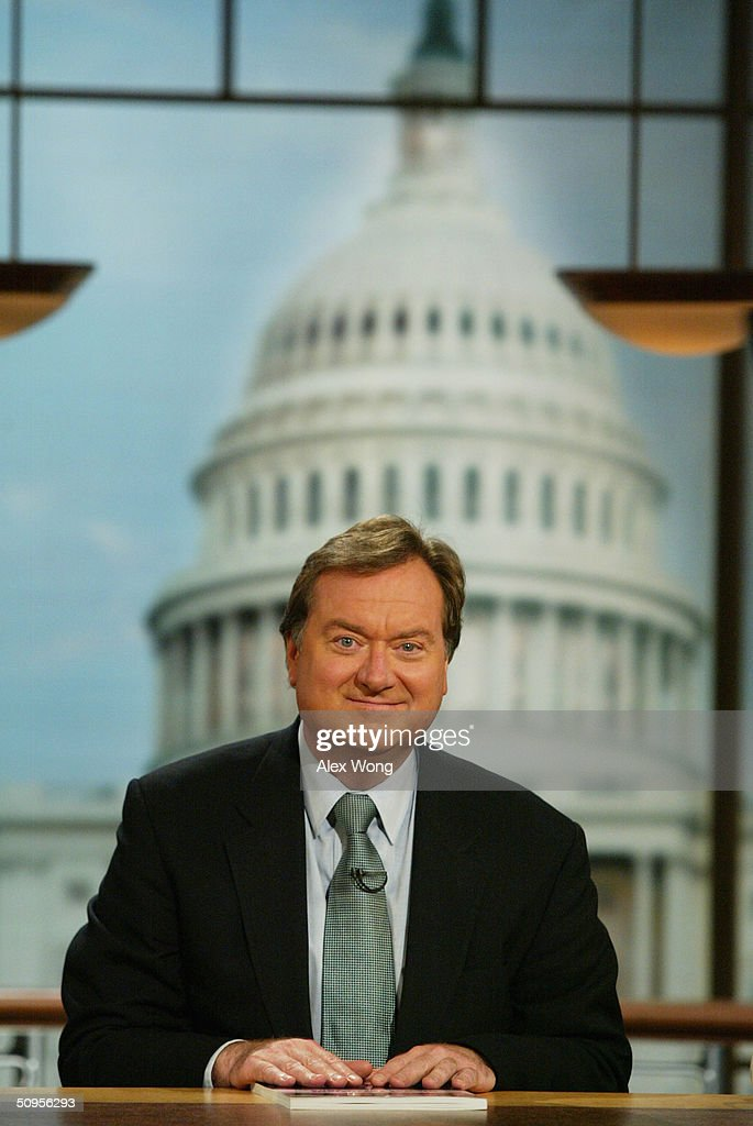 Moderator Tim Russert hosts Sunday talk show 'Meet the Press' June 13 2004 at the NBC studios in Washington DC