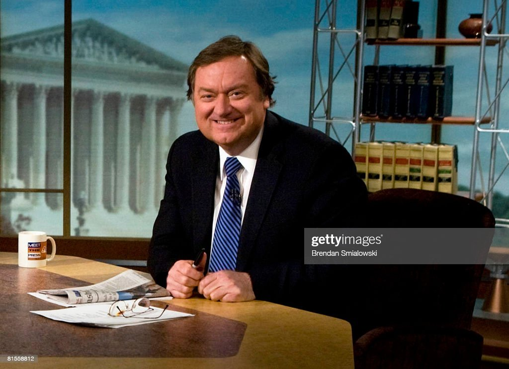 Moderator Tim Russert is seen on the set of 'Meet the Press' during a taping in this file photo from March 30 2008 in Washington DC Russert collapsed...