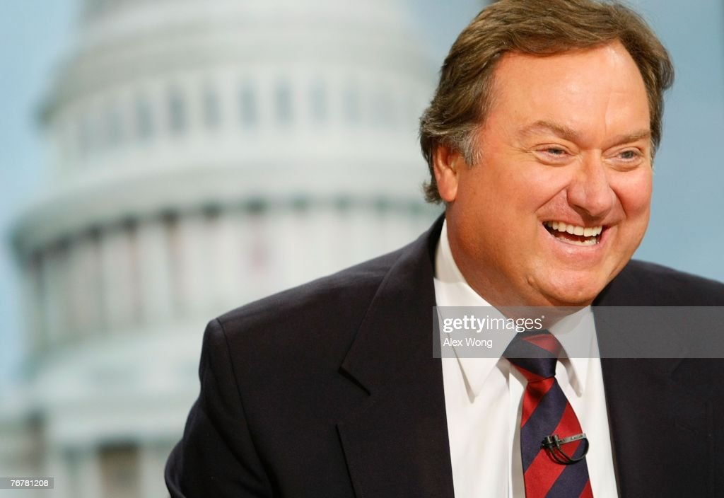 Moderator Tim Russert smiles during a taping of Meet the Press at the NBC studios September 16 2007 in Washington DC Meet the Press will celebrate...