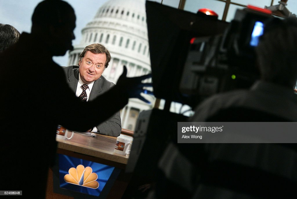 Moderator Tim Russert speaks as he hosts NBC's Sunday talkshow 'Meet the Press' during a taping at the NBC studios March 20 2005 in Washington DC...