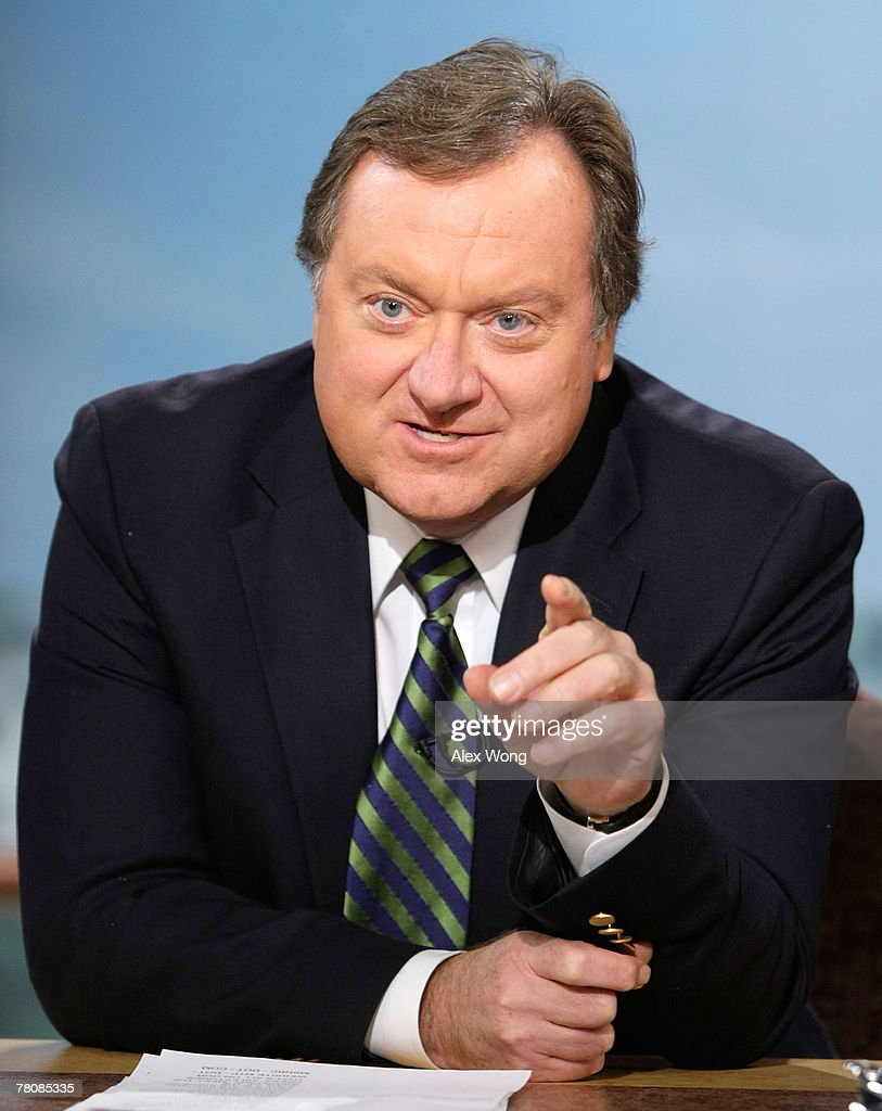Moderator Tim Russert speaks during a taping of 'Meet the Press' at the NBC studios November 25 2007 in Washington DC 2008 presidential elections was...