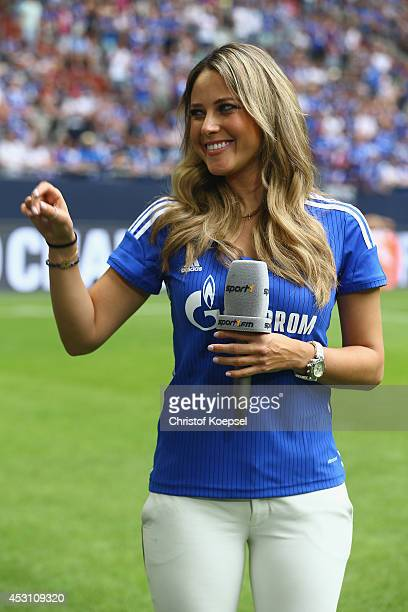 Moderator Vanessa Huppenkothen of Sport 1 television channel is seen prior to the match between FC Malaga and West Ham United as part of the Schalke...