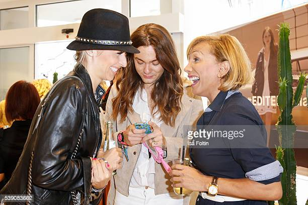 Moderator Verena Kerth Blogger Riccardo Simonetti and Julia Prillwitz attend the EDITEDthelabel Store Event on June 9 2016 in Munich Germany