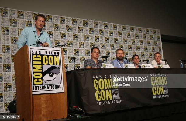 Moderator/actor Scott Aukerman producer David Alpert comic book writer Robert Kirkman filmmaker Rory Karpf and filmmaker Daniel Junge onstage during...