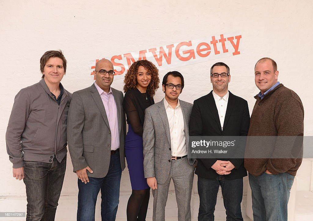 Moderator/author Mark Borden, panelists Nilay Gandhi, Katrina Craigwell, Shafqat Islam, Eric Korsh and Frank Eliason attend 'Visual Conversation: Being @ The Center of Social' hosted by Getty Images during Social Media Week 2013 at Openhouse Gallery on February 19, 2013 in New York City.