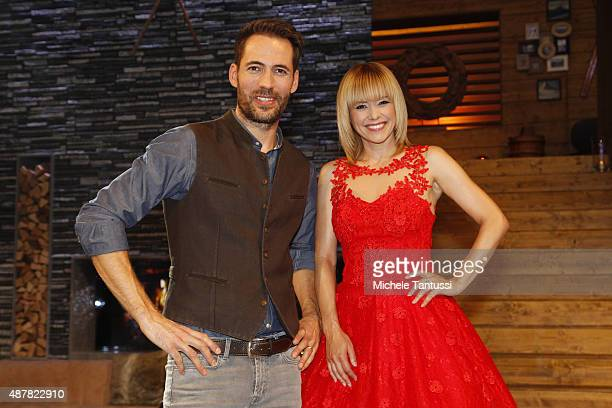 Moderators Alexander Mazza and Francine Jordi during the dress rehearsal of the TV music show 'Stadlshow' on September 11 2015 in Offenburg Germany