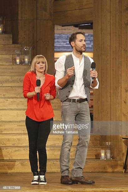 moderators Francine Jordi and Alexander Mazza during the dress rehearsal of the TV music show 'Stadlshow' on September 11 2015 in Offenburg Germany