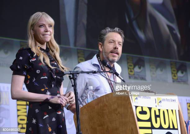 Moderators Riki Lindhome and John Ross Bowie speak onstage at ComicCon International 2017 'The Big Bang Theory' panel at San Diego Convention Center...