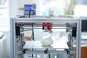 Best functions. State-of-the-art 3D printer creating a new model of a heart, recreating all details