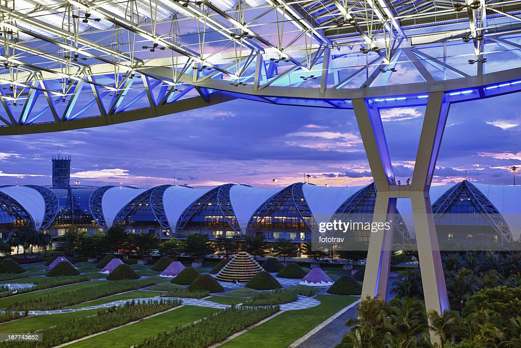 Modern airport at night, Bangkok, Thailand