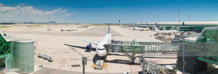 Modern airport panorama aircraft jet bridge terminal
