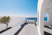 Modern alley and terrace in Santorini Greece