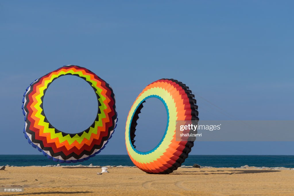 A modern and big kite festival during hot and windy season