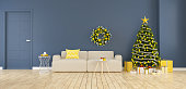 Modern and minimalist interior of living room ,christmas tree with gift boxes decorate of  home for the holidays,3d rendering