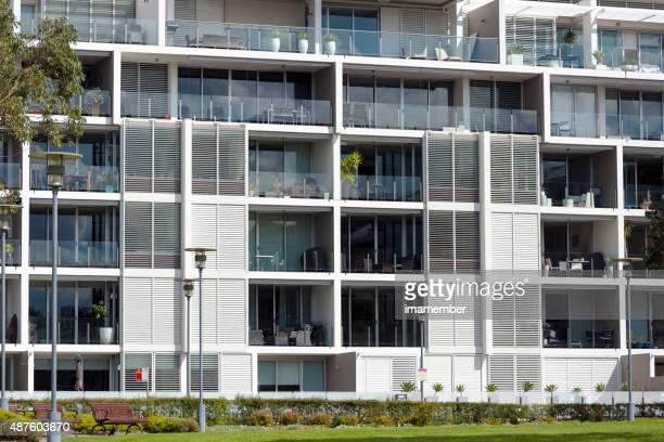 Modern apartment block in sunlight
