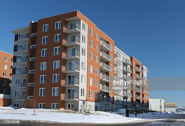Modern Apartment Building in Winter