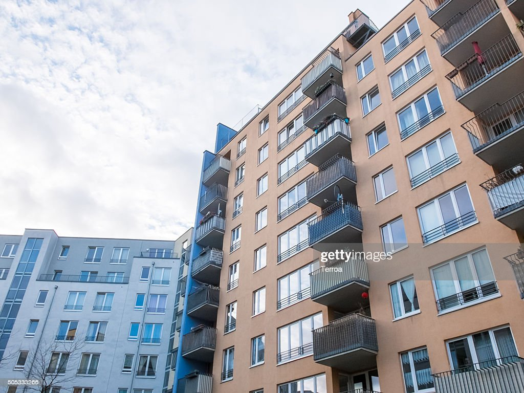 Modern Apartment Buildings In Urban Neighborhood : Stock Photo