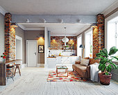 modern apartment  interior. Scandinavian style design. 3d rendering concept