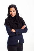 modern Arabic businesswoman on white background