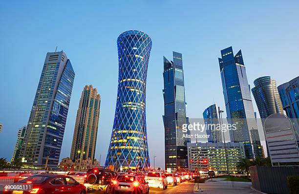 Modern architecture in Doha at dusk