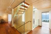 mountain house, modern architecture, interior, staircase
