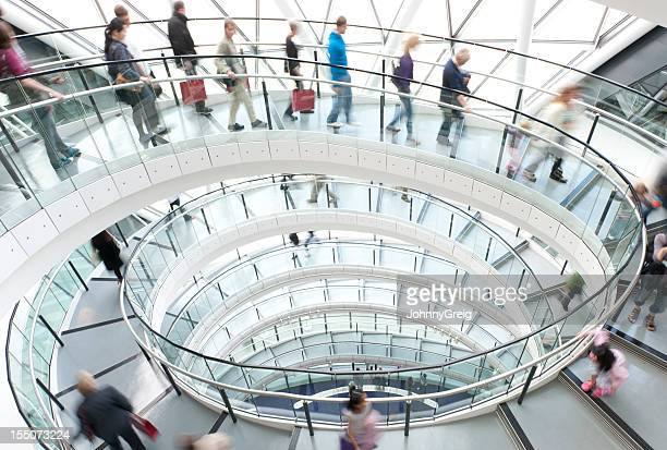 Modern Architecture Spiral Staircase with People