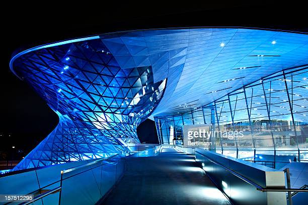 Modern architecture with blue lights at night